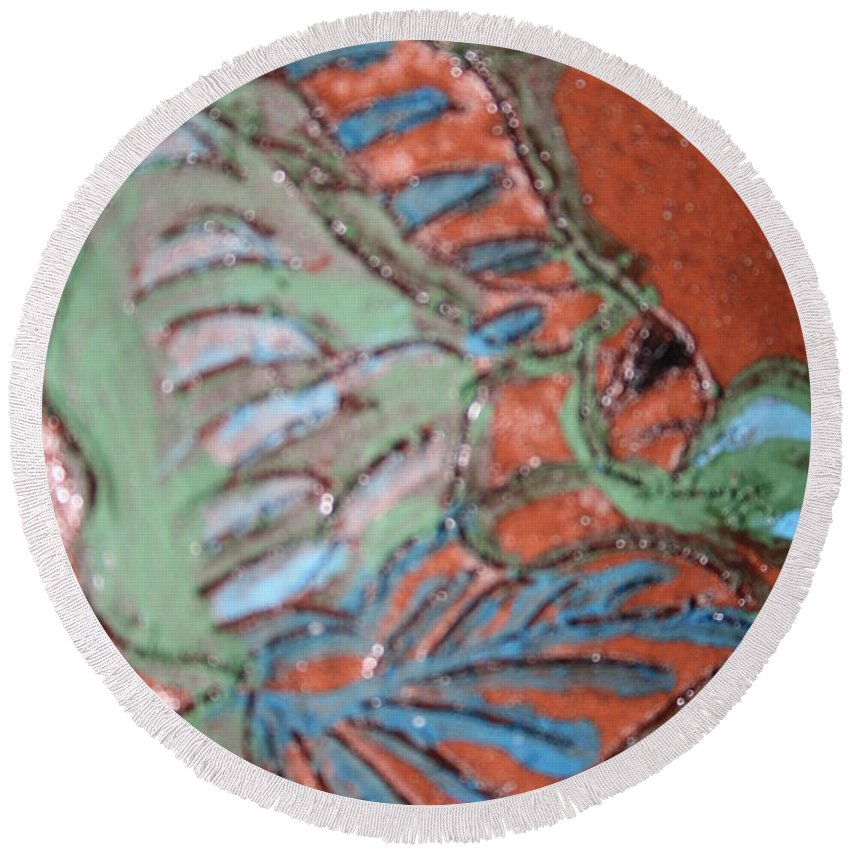 Gloria Ssali Round Beach Towel featuring the painting Garden Dream Tile by Gloria Ssali