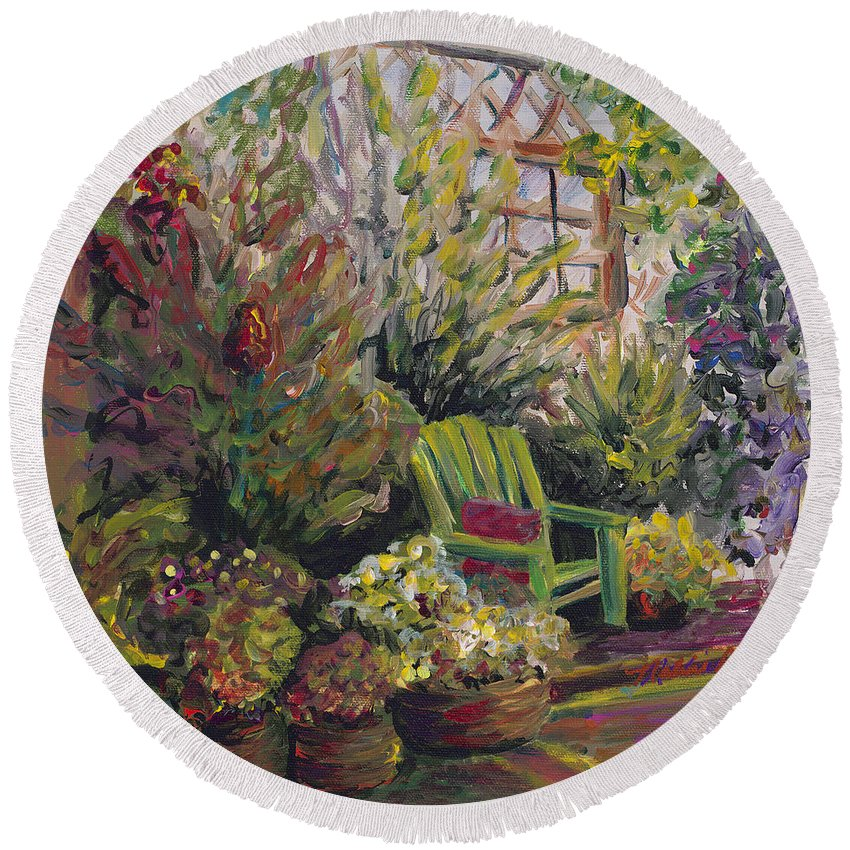 Green Round Beach Towel featuring the painting Garden Escape by Nadine Rippelmeyer