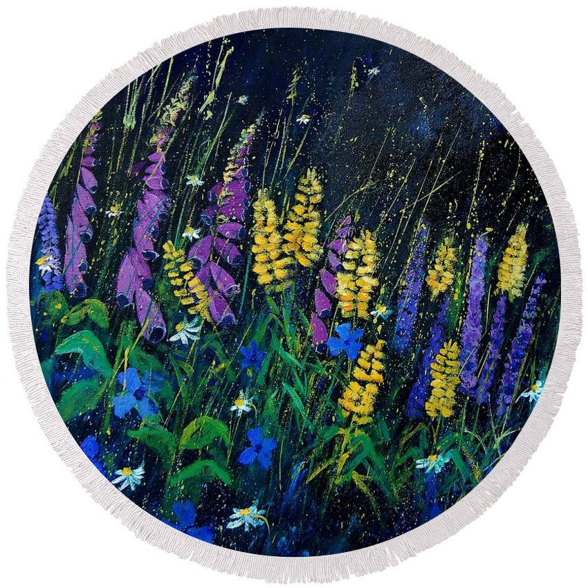 Flowers Round Beach Towel featuring the painting Garden Flowers 679080 by Pol Ledent