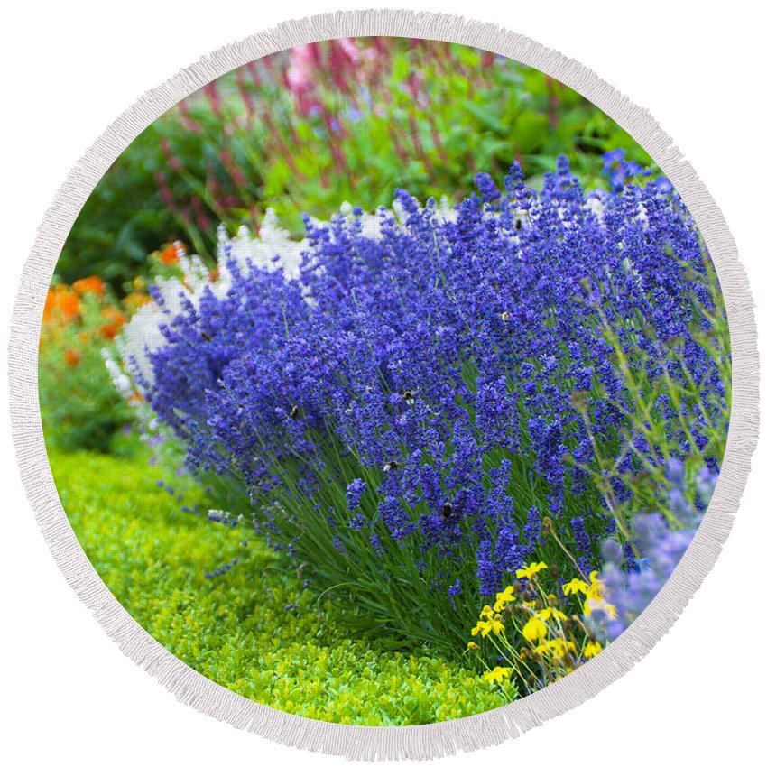 Blue Round Beach Towel featuring the photograph Garden Flowers by Svetlana Sewell