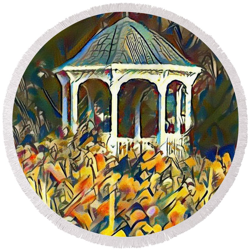 Garden Round Beach Towel featuring the painting Garden Gazebo Watercolor by Bill Cannon