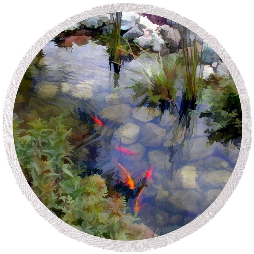 Nature Round Beach Towel featuring the painting Garden Koi Pond by Elaine Plesser