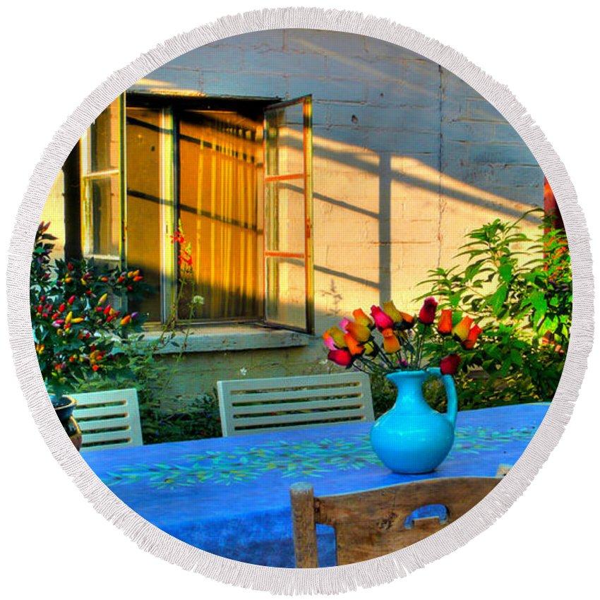 Summer Round Beach Towel featuring the photograph Garden Light by Charlene Mitchell