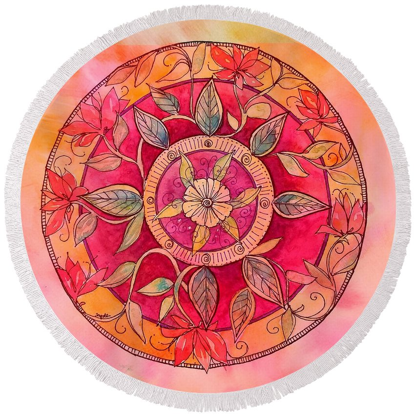 Mandala Round Beach Towel featuring the painting Garden Mandala by Sherri Snyder