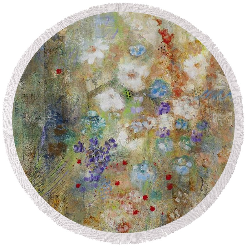 Abstract Art Round Beach Towel featuring the painting Garden Of White Flowers by Frances Marino