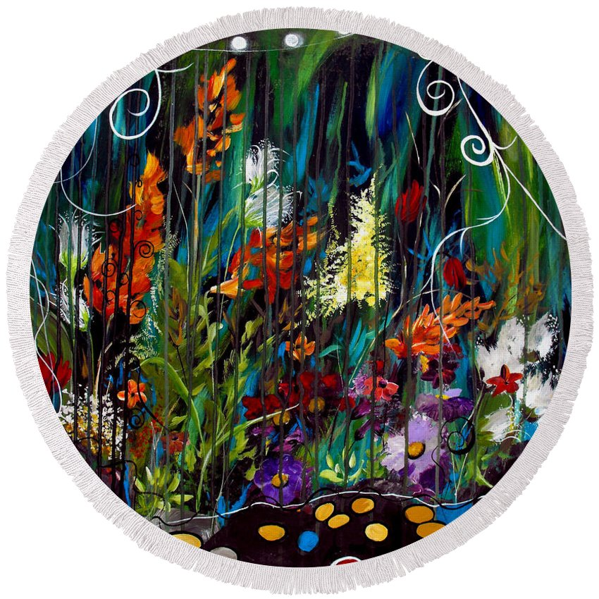 Abstract Round Beach Towel featuring the painting Garden Of Wishes by Ruth Palmer