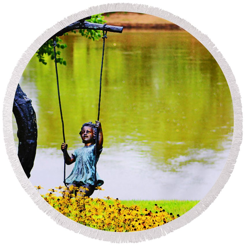 Nature Round Beach Towel featuring the photograph Garden Swing By The River by Don Baker