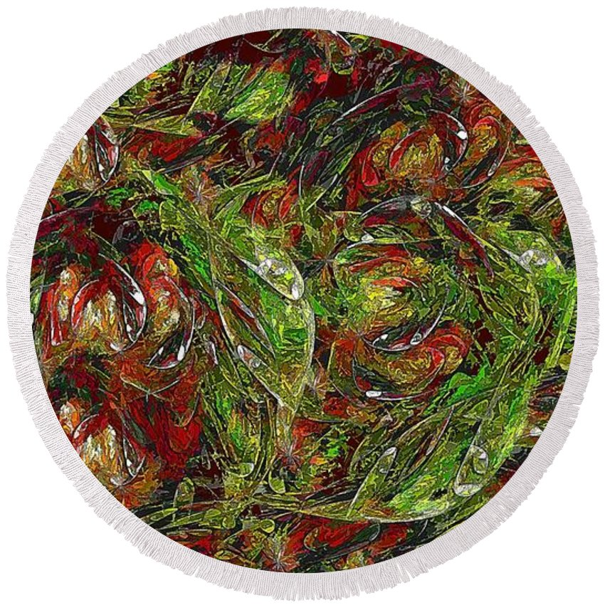 Vegetables Round Beach Towel featuring the digital art Garden Vegetable Crazy 16x9 by Doug Morgan