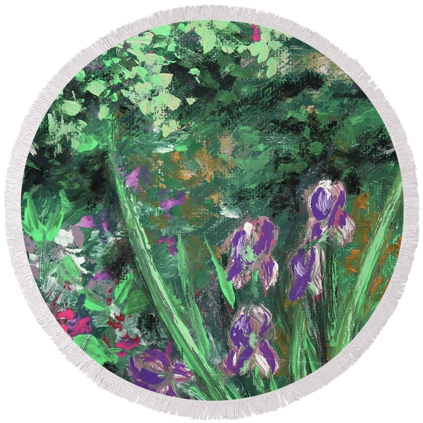 Flower Round Beach Towel featuring the painting Garden Walk by Jeni Reynolds
