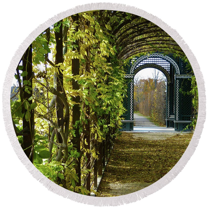 Garden Round Beach Towel featuring the photograph Garden Walkway by Marguerita Tan