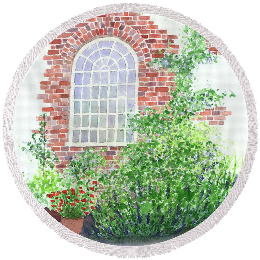 Window Round Beach Towel featuring the painting Garden Wall by Lynn Quinn