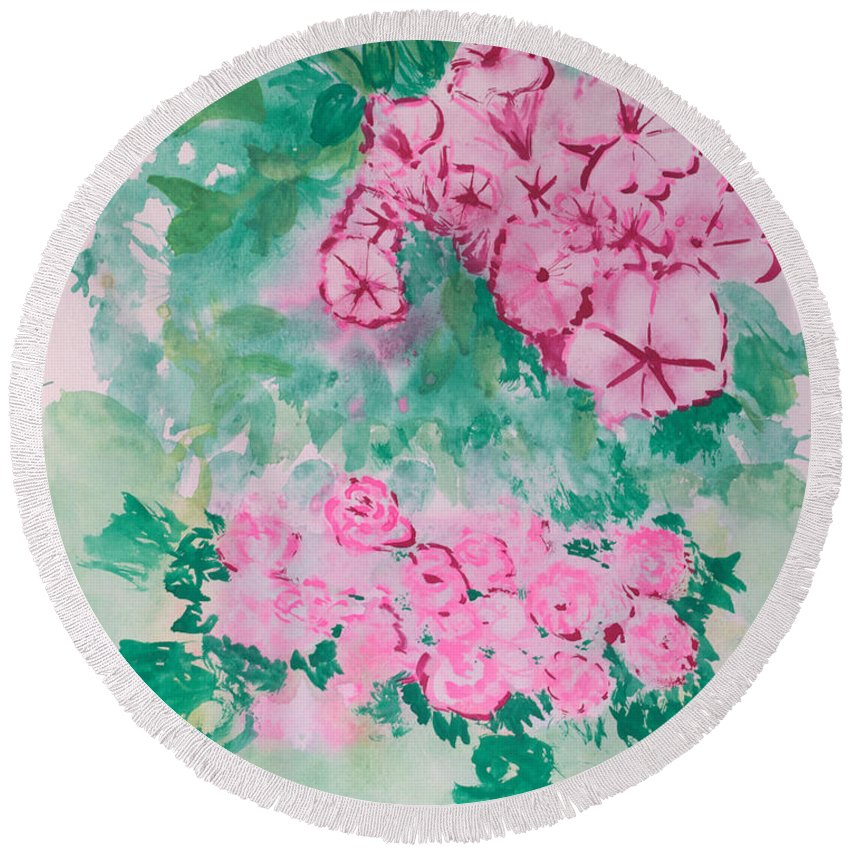 Impressionism Round Beach Towel featuring the painting Garden With Pink Flowers by J R Seymour