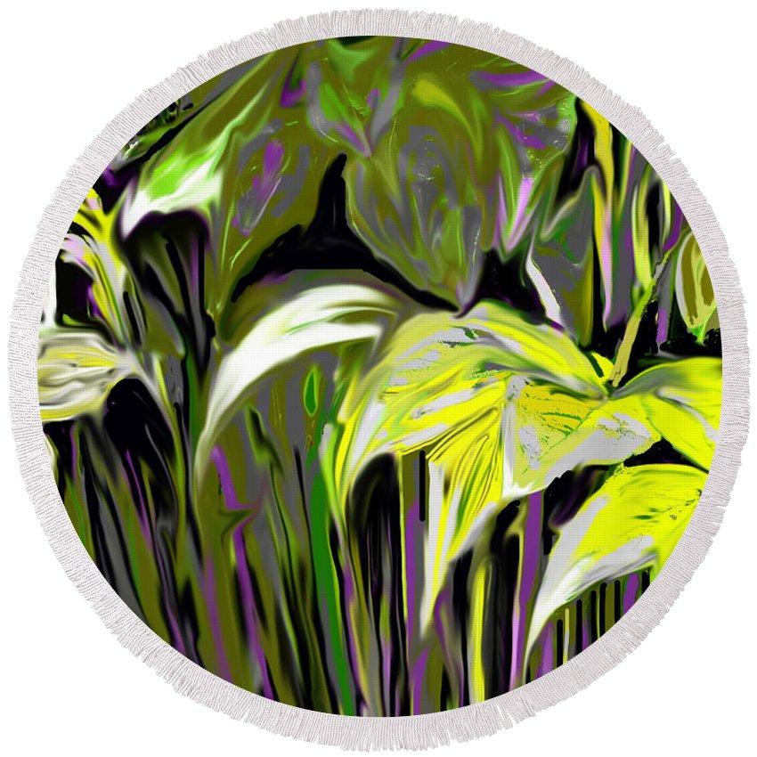 Garden Round Beach Towel featuring the digital art Garden Yellow And Purple by Ian MacDonald