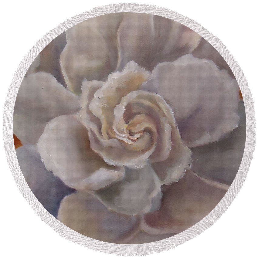 A Bloom That Scents The South. Gardenia Round Beach Towel featuring the painting Gardenia Bloom by Charme Curtin