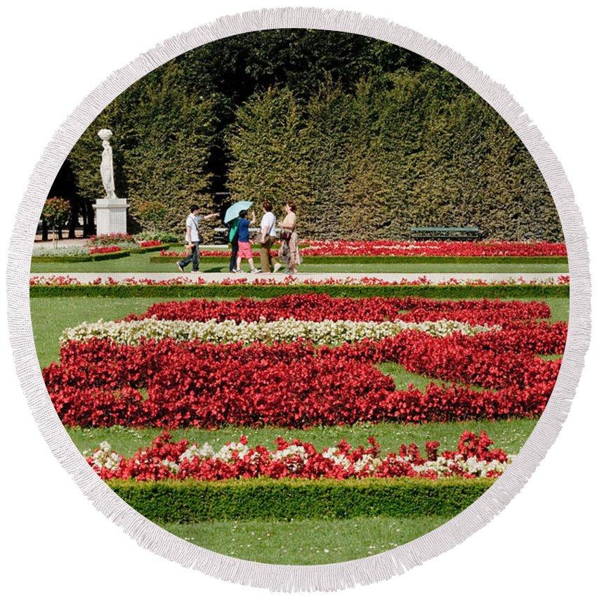 Schonbrunn Palace Hapsburg Vienna Austria Castle Garden Round Beach Towel featuring the photograph Gardens Of The Schloss Schonbrunn Vienna Austria by Thomas Marchessault