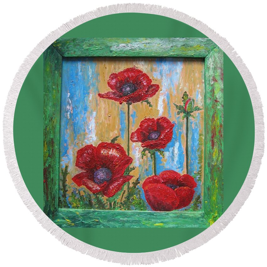 Nature Round Beach Towel featuring the painting Gardens Poppy by Stella Velka