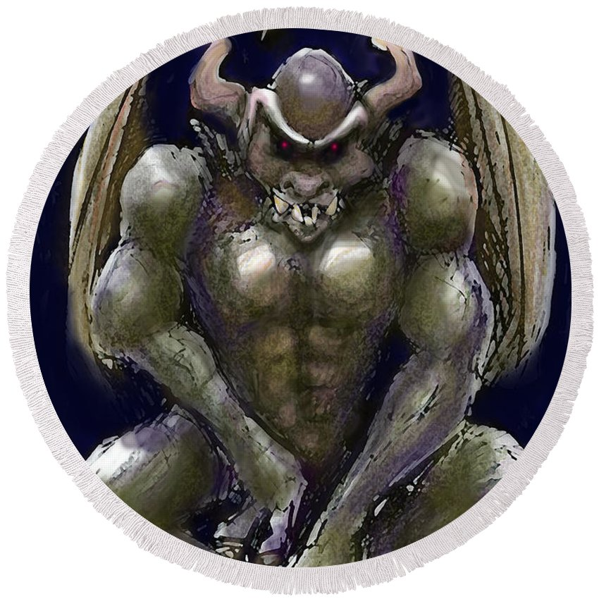 Gargoyle Round Beach Towel featuring the greeting card Gargoyle by Kevin Middleton