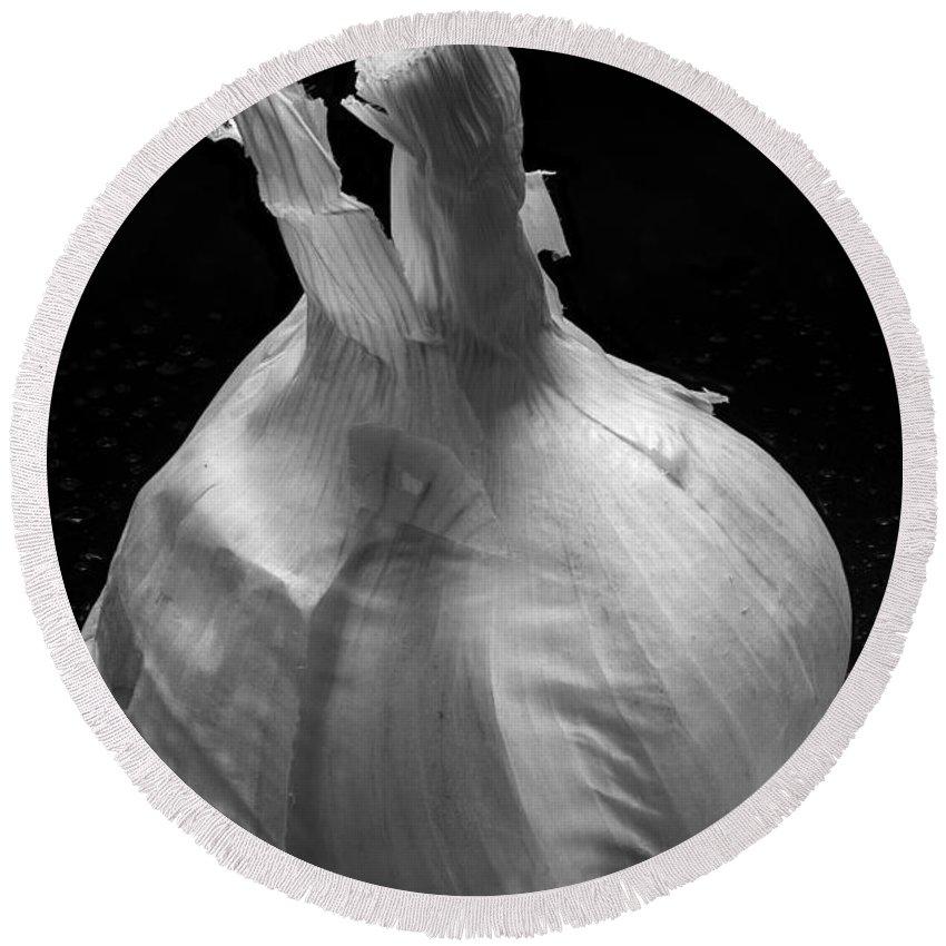 Garlic Round Beach Towel featuring the photograph Garlic Bulb B W by Steve Gadomski