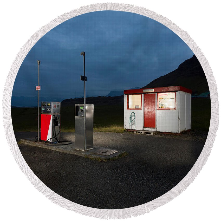 Photography Round Beach Towel featuring the photograph Gas Station In The Countryside, South by Panoramic Images