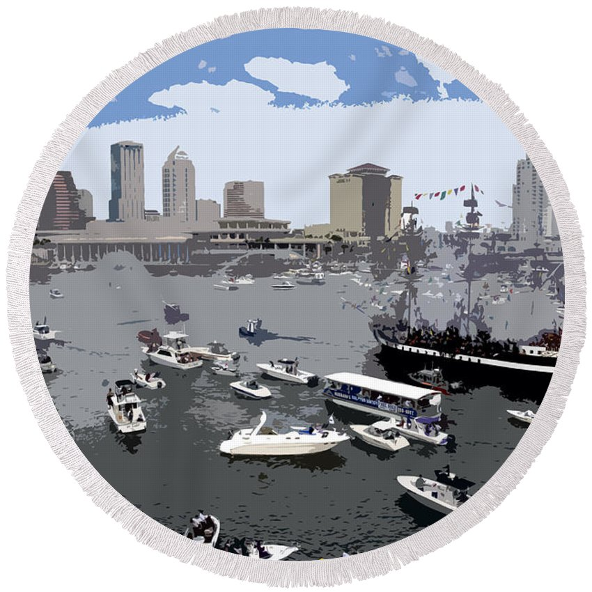 Gasparilla Round Beach Towel featuring the painting Gasparilla Invasion Work Number 3 by David Lee Thompson