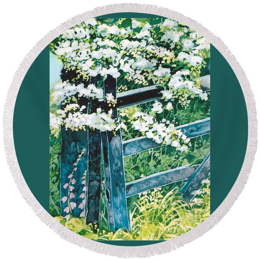 Wooden Gate Round Beach Towel featuring the painting Gate And Blossom by Paula Chapman