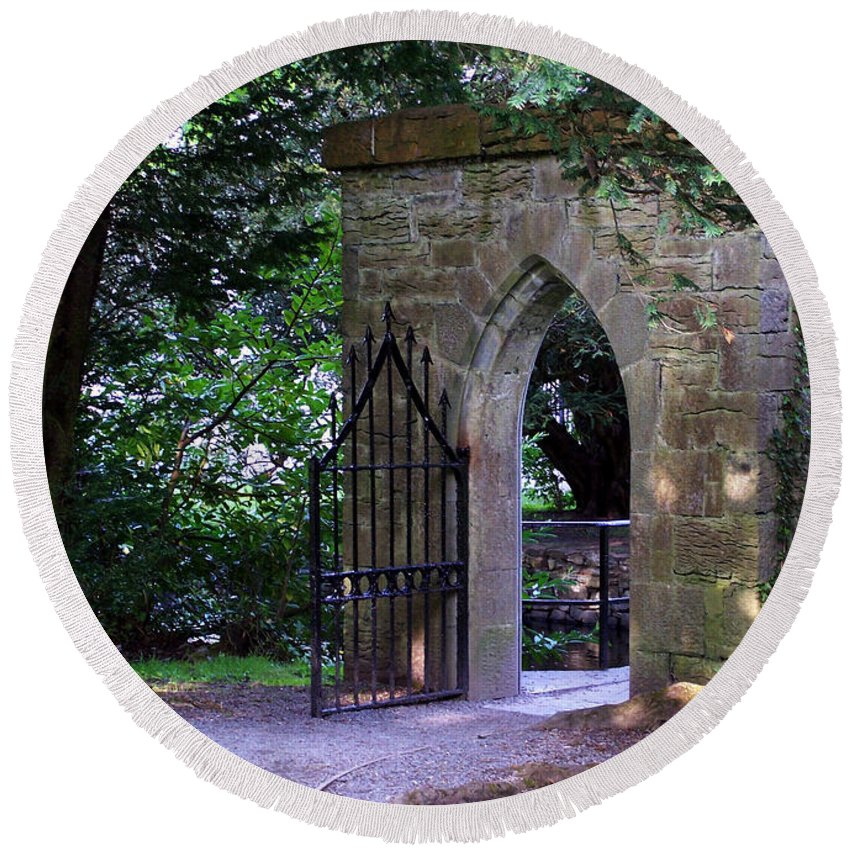 Irish Round Beach Towel featuring the photograph Gate At Cong Abbey Cong Ireland by Teresa Mucha