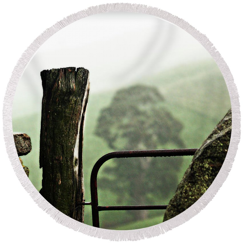 Gate Round Beach Towel featuring the photograph Gate To Eden by Douglas Barnard