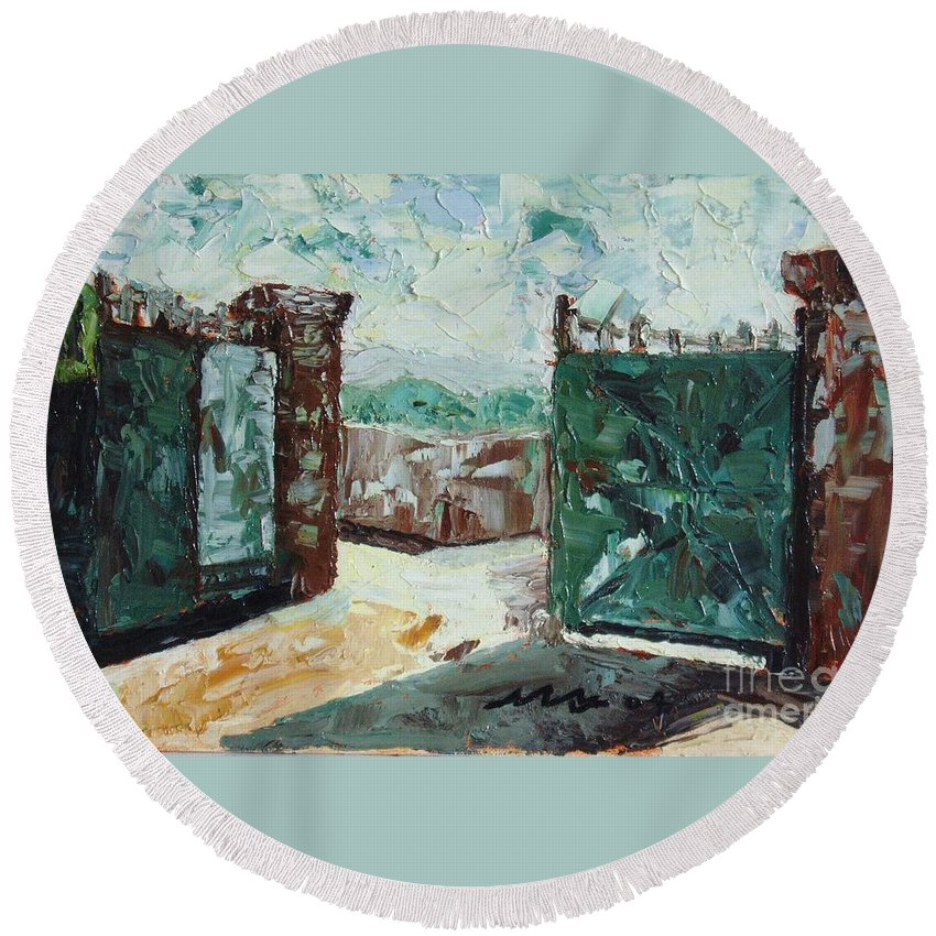 Gate Oil Canvas Round Beach Towel featuring the painting Gate2 by Seon-Jeong Kim