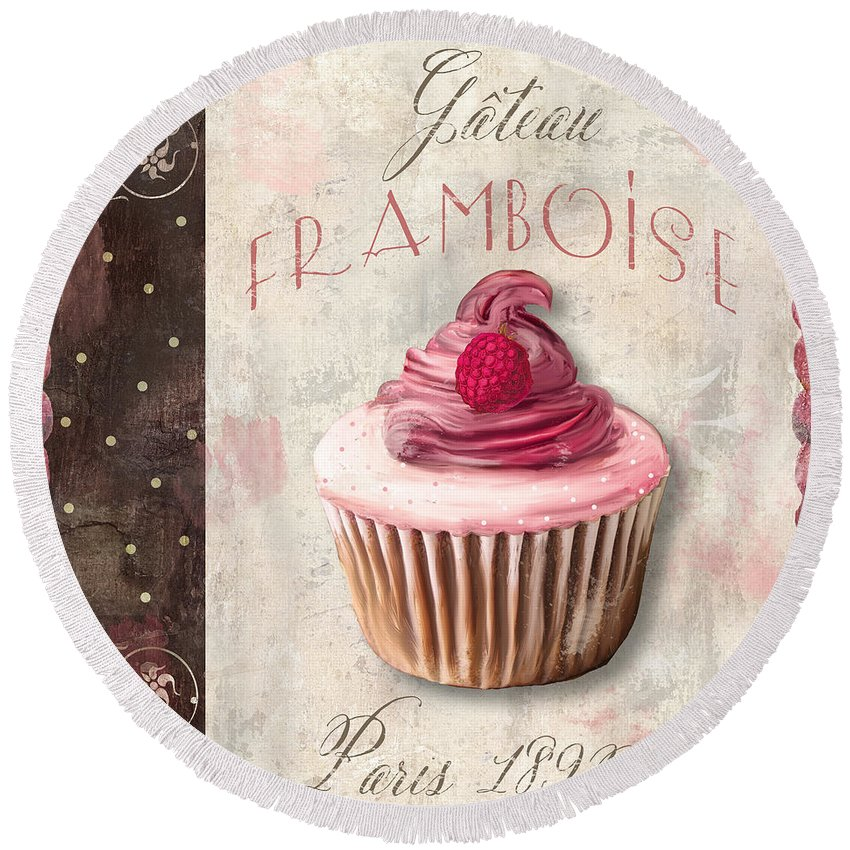Cupcake Round Beach Towel featuring the painting Gateau Framboise Patisserie by Mindy Sommers