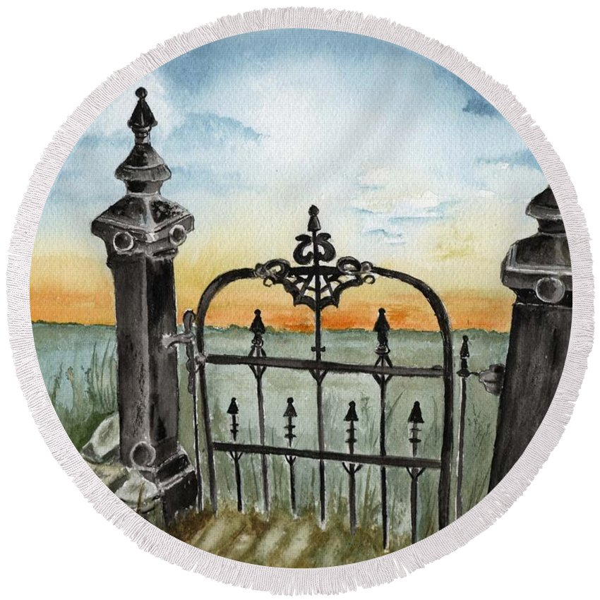 Gate Round Beach Towel featuring the painting Gateway by Brenda Owen