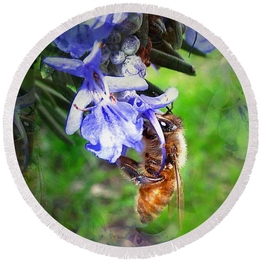 Bee Round Beach Towel featuring the photograph Gathering Rosemary Pollen by Joyce Dickens