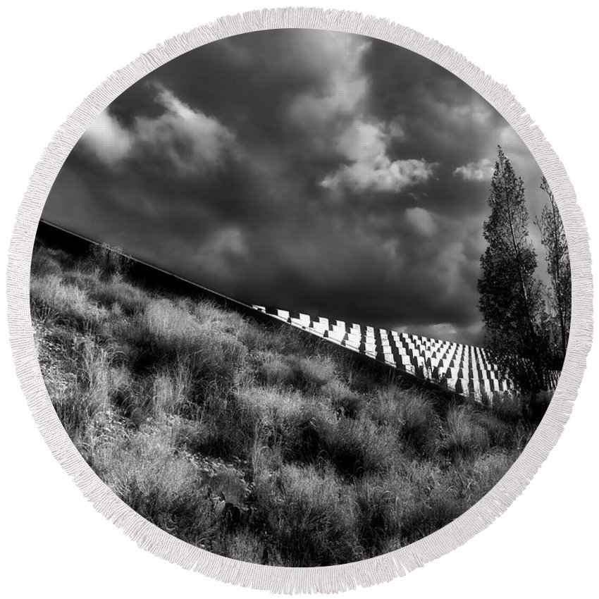 Albuquerque Round Beach Towel featuring the photograph Gathering Storm by Mark David Gerson