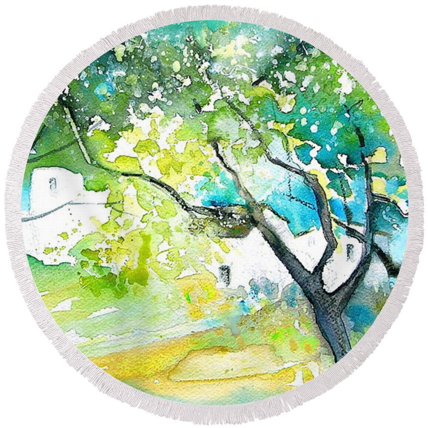 Spain Painting Water Colour Sketch Travel Gatova Round Beach Towel featuring the painting Gatova Spain 04 by Miki De Goodaboom