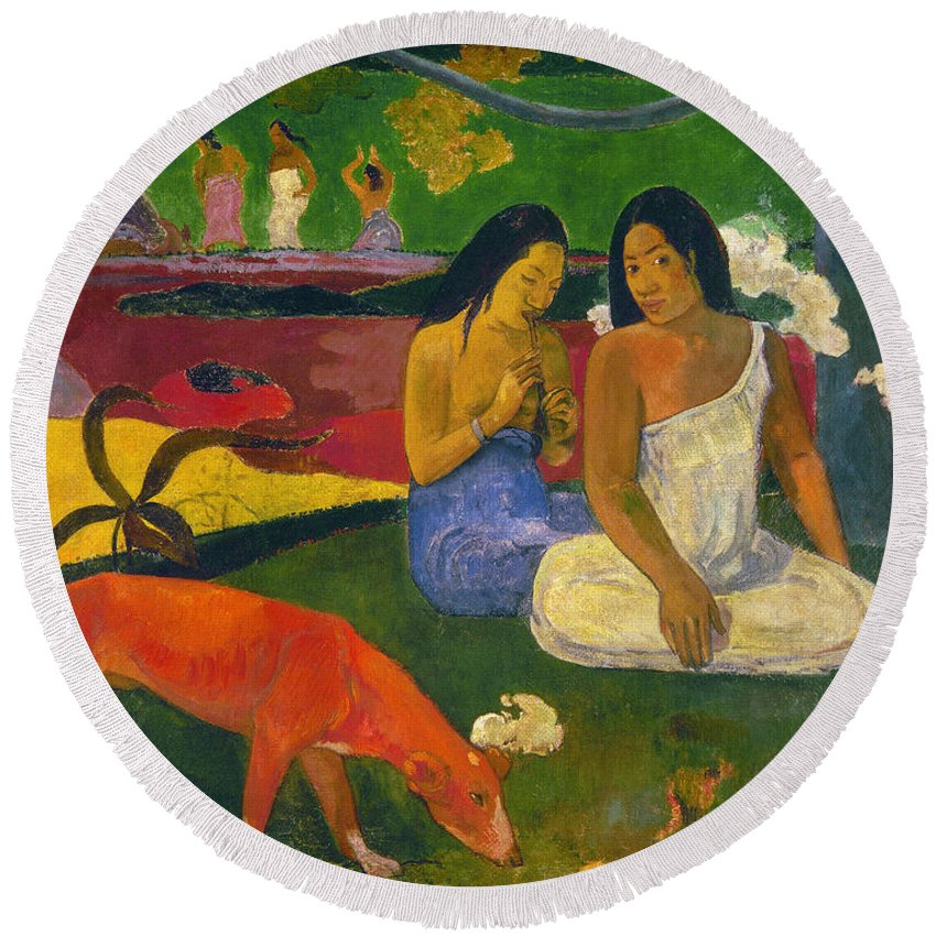 1892 Round Beach Towel featuring the photograph Gauguin: Arearea, 1892 by Granger