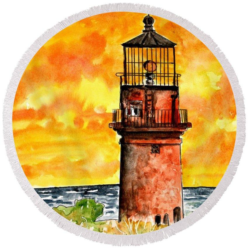 Beach Round Beach Towel featuring the painting Gay Head Lighthouse Martha's Vineyard by Derek Mccrea
