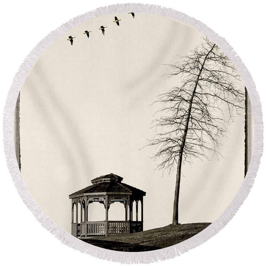 Gazebo Round Beach Towel featuring the photograph Gazebo And Geese by Mike Nellums