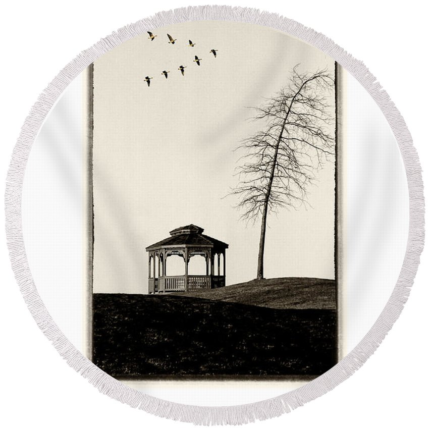 Gazebo Round Beach Towel featuring the photograph Gazebo And Geese Poster by Mike Nellums