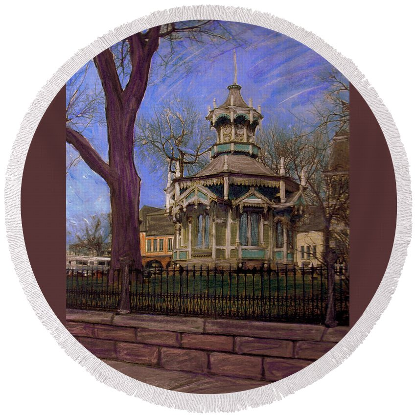 Gazabo Round Beach Towel featuring the mixed media Gazebo At Wisconsin Club by Anita Burgermeister