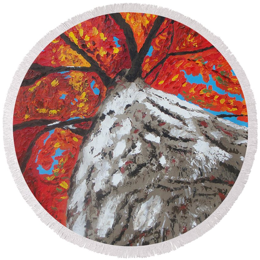 Tree Round Beach Towel featuring the painting Gazing Above by Ricklene Wren