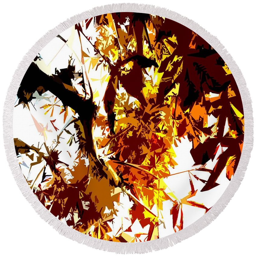 Fall Images Round Beach Towel featuring the painting Gazing Into The Autumn Trees by Patrick J Murphy