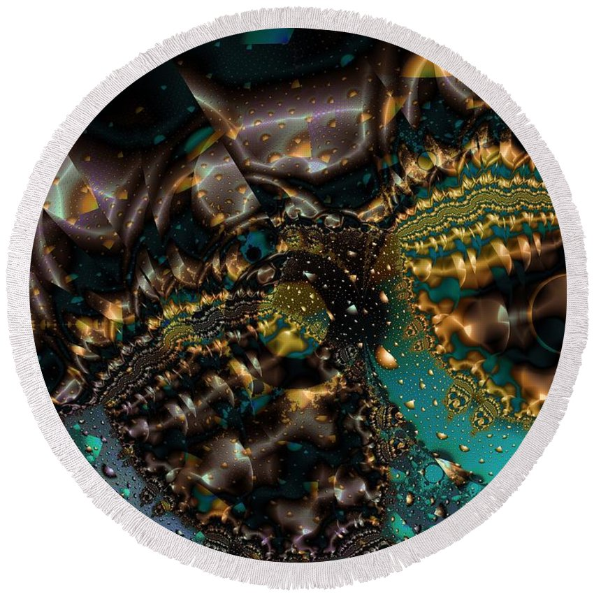 Fractal Art Round Beach Towel featuring the digital art Gears Of The Universe Two by Ron Bissett