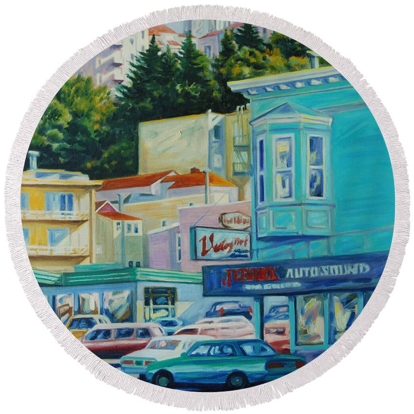 Cityscape Round Beach Towel featuring the painting Geary Street by Rick Nederlof