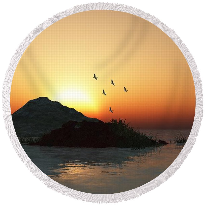 Digital Painting Round Beach Towel featuring the digital art Geese And Sunset by David Lane