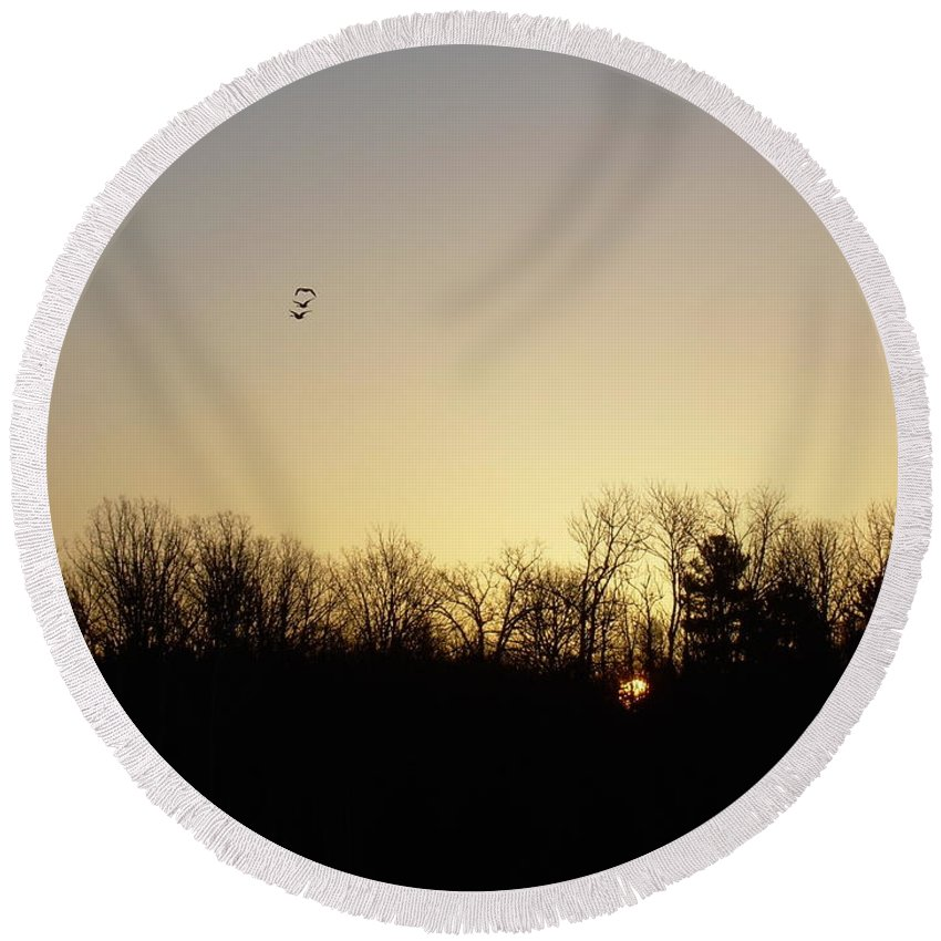 Geese Round Beach Towel featuring the photograph Geese At Sunrise by Kent Lorentzen