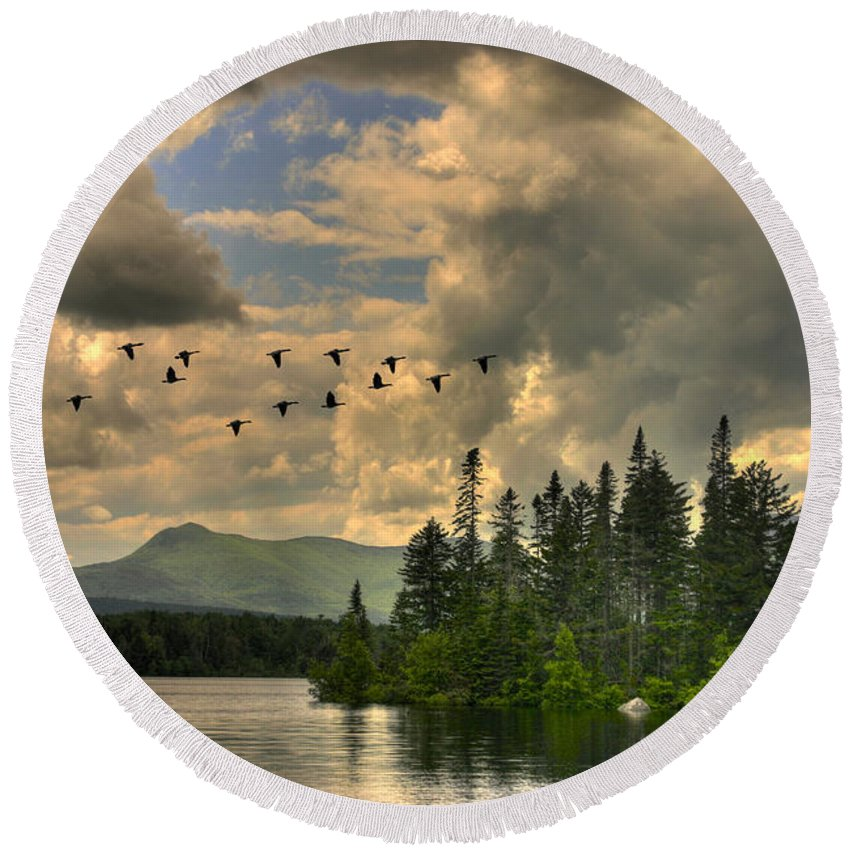 Geese Round Beach Towel featuring the photograph Geese Over Jericho Lake by Wayne King