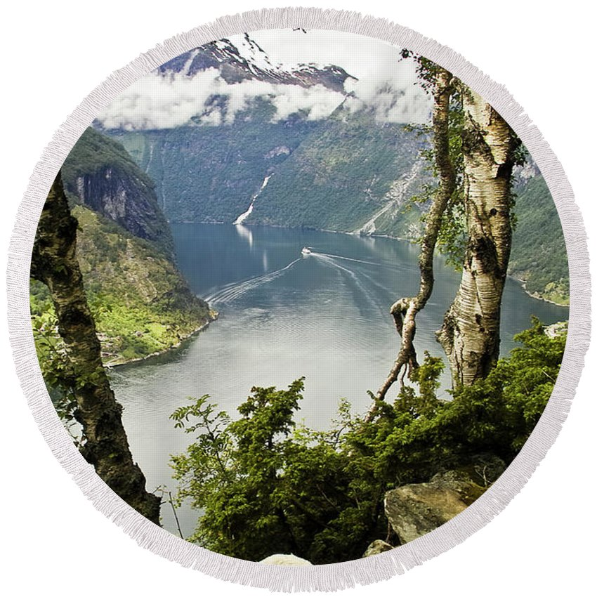 Europe Round Beach Towel featuring the photograph Geiranger Fjord by Heiko Koehrer-Wagner