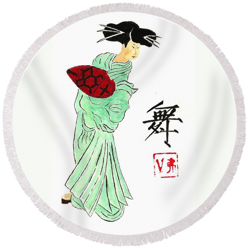 China Round Beach Towel featuring the painting Geisha Girl Dancing by Michael Vigliotti
