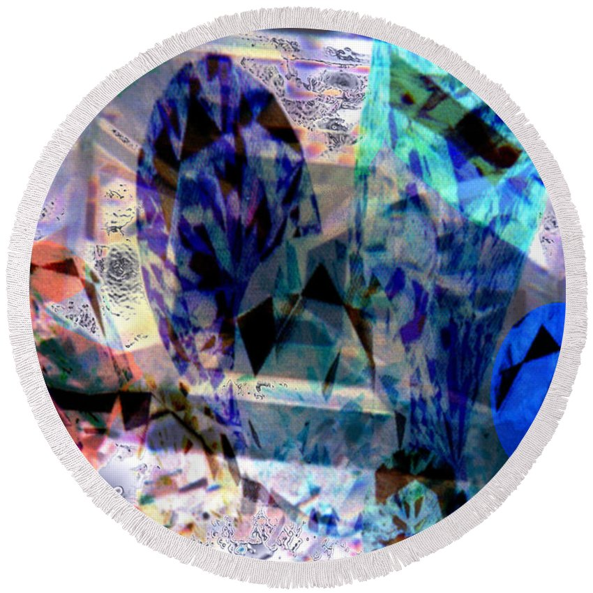 Abstract Round Beach Towel featuring the photograph Gems Of Ice by Seth Weaver