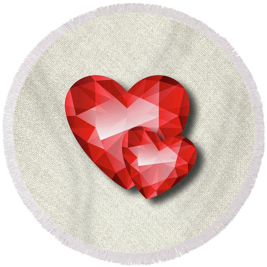Gemstone Round Beach Towel featuring the digital art Gemstone - 6 by Prar Kulasekara
