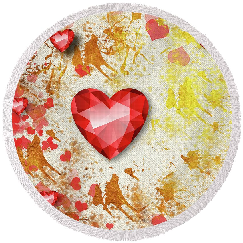 Gemstone Round Beach Towel featuring the digital art Gemstone - 7 by Prar Kulasekara